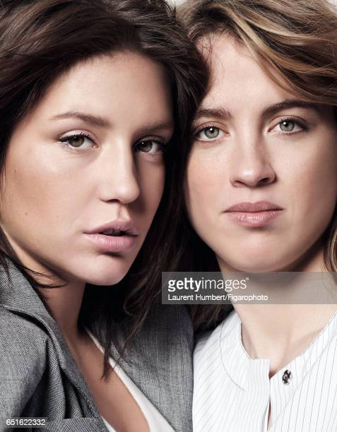 Actresses Adele Haenel and Adele Exarchopoulos are photographed for Madame Figaro on January 21 2017 in Paris France Exarchopoulos Coat tshirt Haenel...