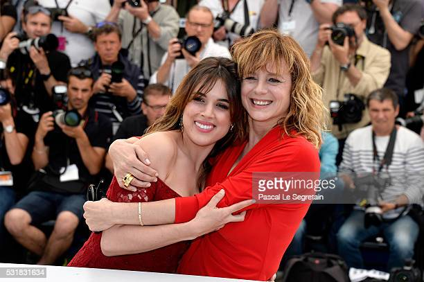 Actresses Adriana Ugarte and Emma Suarez attend the 'Julieta' photocall during the 69th annual Cannes Film Festival at the Palais des Festivals on...