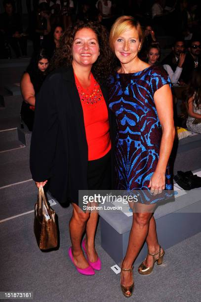 Actresses Aida Turturro and Edie Falco attend the Nanette Lepore Spring 2013 fashion show during MercedesBenz Fashion Week at The Stage Lincoln...