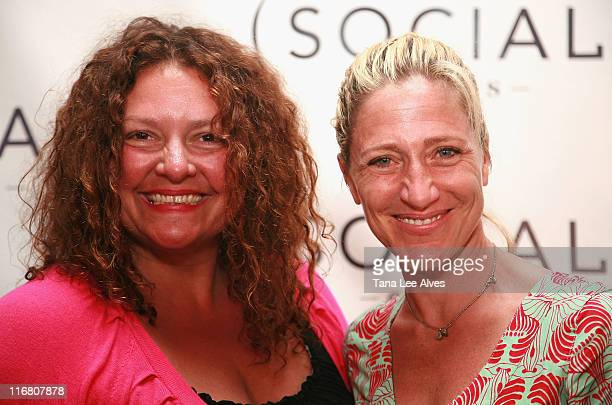 Actresses Aida Turturro and Edie Falco visit the Hampton SOCIAL @Ross Performance by Dave Matthews Band at the Ross School July 28 2007 in East...