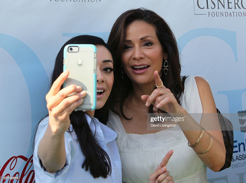 Actresses Aimee Garcia (L) and Constance Marie attend the Ninth Annual George Lopez Celebrity Golf Classic at Lakeside Golf Club on May 2, 2016 in Burbank, California.
