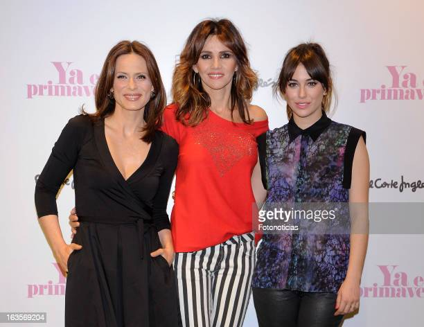 Actresses Aitana SanchezGijon Goya Toledo and Blanca Suarez attend a photocall for El Corte Ingles Spring Campaign Launching 2013 at El Corte Ingles...