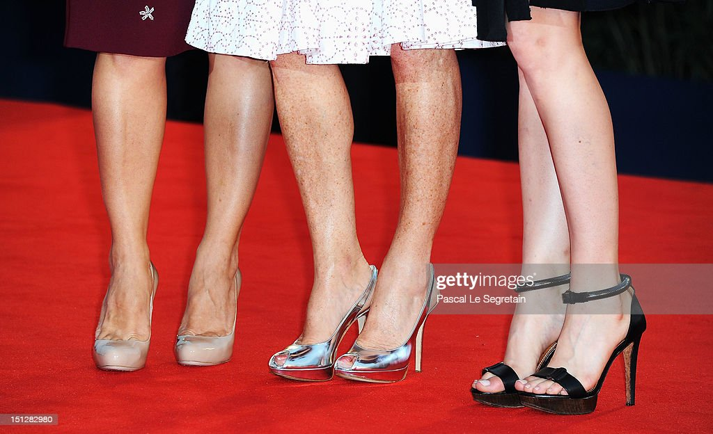 Actresses Alba Rohrwacher, Maya Sansa and Isabelle Huppert (shoe detail) attend the 'Bella Addormentata' Premiere during The 69th Venice Film Festival at the Palazzo del Cinema on September 5, 2012 in Venice, Italy.