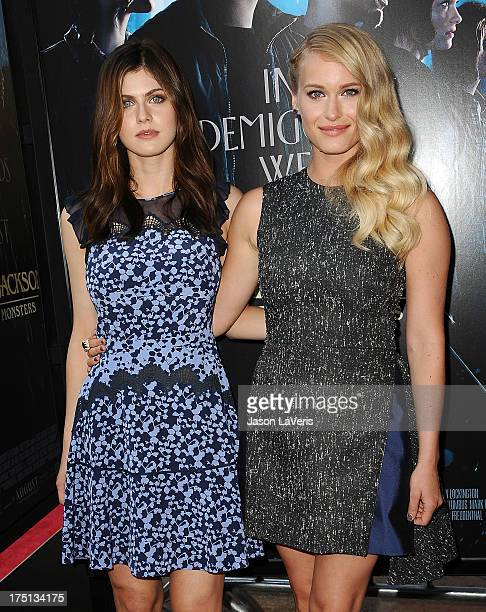 Actresses Alexandra Daddario and Leven Rambin attend the premiere of 'Percy Jackson Sea Of Monsters' at The Americana at Brand on July 31 2013 in...