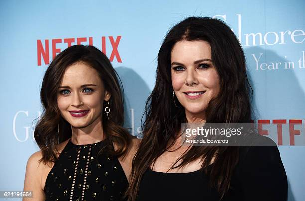 Actresses Alexis Bledel and Lauren Graham arrive at the premiere of Netflix's 'Gilmore Girls A Year In The Life' at the Regency Bruin Theatre on...