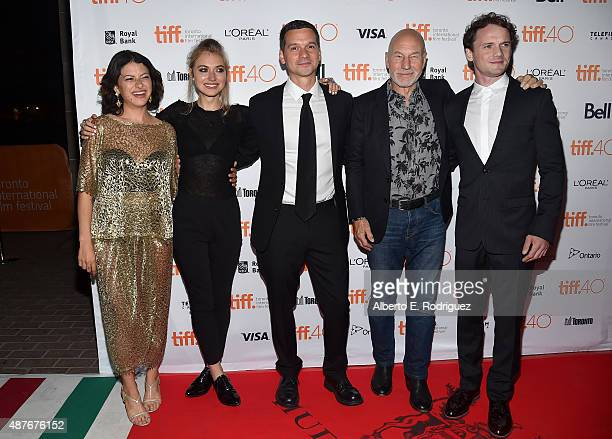 Actresses Alia Shawkat and Imogen Poots writer/director Jeremy Saulnier and actors Patrick Stewart and Anton Yelchin attend the 'Green Room' and 'The...