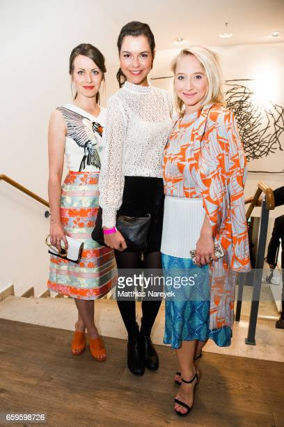 Actresses Alice Dwyer Susan Hoecke and Anna Maria Muehe attend the BIDI BADU by Kilian Kerner presentation at Ellington Hotel on March 28 2017 in...