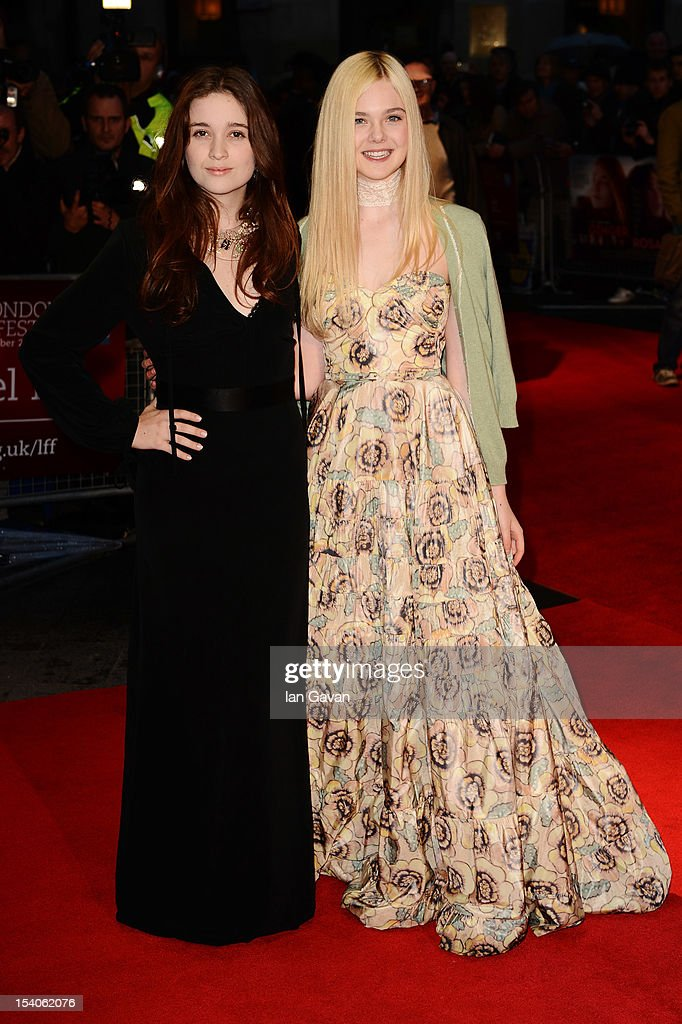 Actresses Alice Englert (L) and <a gi-track='captionPersonalityLinkClicked' href=/galleries/search?phrase=Elle+Fanning&family=editorial&specificpeople=2189940 ng-click='$event.stopPropagation()'>Elle Fanning</a> attend the premiere of 'Ginger and Rosa' during the 56th BFI London Film Festival at Odeon West End on October 13, 2012 in London, England.