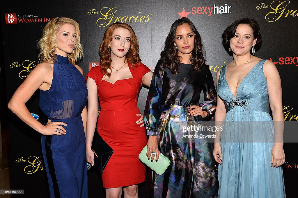 Actresses Alie Liebert, Charlotte Hegele, Jodi Balfour and Meg Tilly arrive at the 38th Annual Gracie Awards Gala at The Beverly Hilton Hotel on May 21, 2013 in Beverly Hills, California.