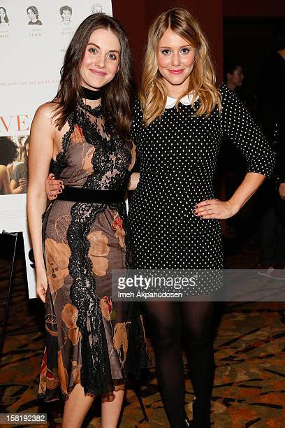Actresses Alison Brie and Julianna Guill attend the screening of 'Save The Date' on December 10 2012 in Los Angeles California