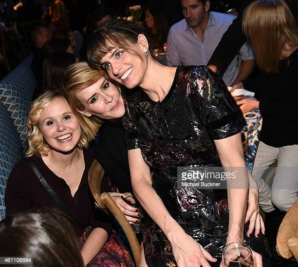 Actresses Alison Pill Sarah Paulson and Amanda Peet attend the after party for the premiere of HBO's 'Togetherness' at Avalon on January 6 2015 in...