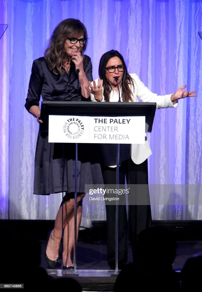 Actresses Allison Janney (L) and Pamela Adlon speak at Paley Honors in Hollywood: A Gala Celebrating Women in Television at the Beverly Wilshire Four Seasons Hotel on October 12, 2017 in Beverly Hills, California.
