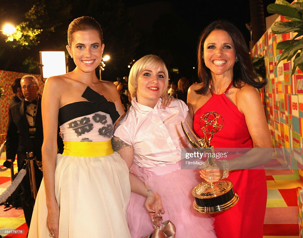 Actresses Allison Williams Lena Dunham and Julia LouisDreyfus attend HBO's Official 2014 Emmy After Party at The Plaza at the Pacific Design Center...