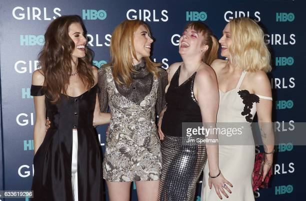 Actresses Allison Williams Zosia Mamet Lena Dunham and Jemima Kirke attend the the New York premiere of the sixth and final season of 'Girls' at...