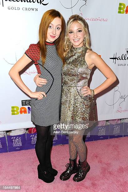 Actresses Allisyn Ashley Arm and Audrey Whitby attend Bella Thorne's Quinceanera in honor of her 15th Birthday presented by Hallmark Gold Crown and...