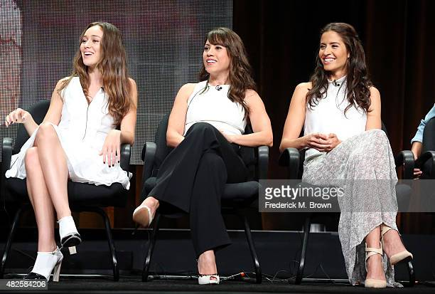 Actresses Alycia DebnamCarey Elizabeth Rodriguez and Mercedes Mason speak onstage during the 'Fear the Walking Dead' panel discussion at the AMC/IFC...