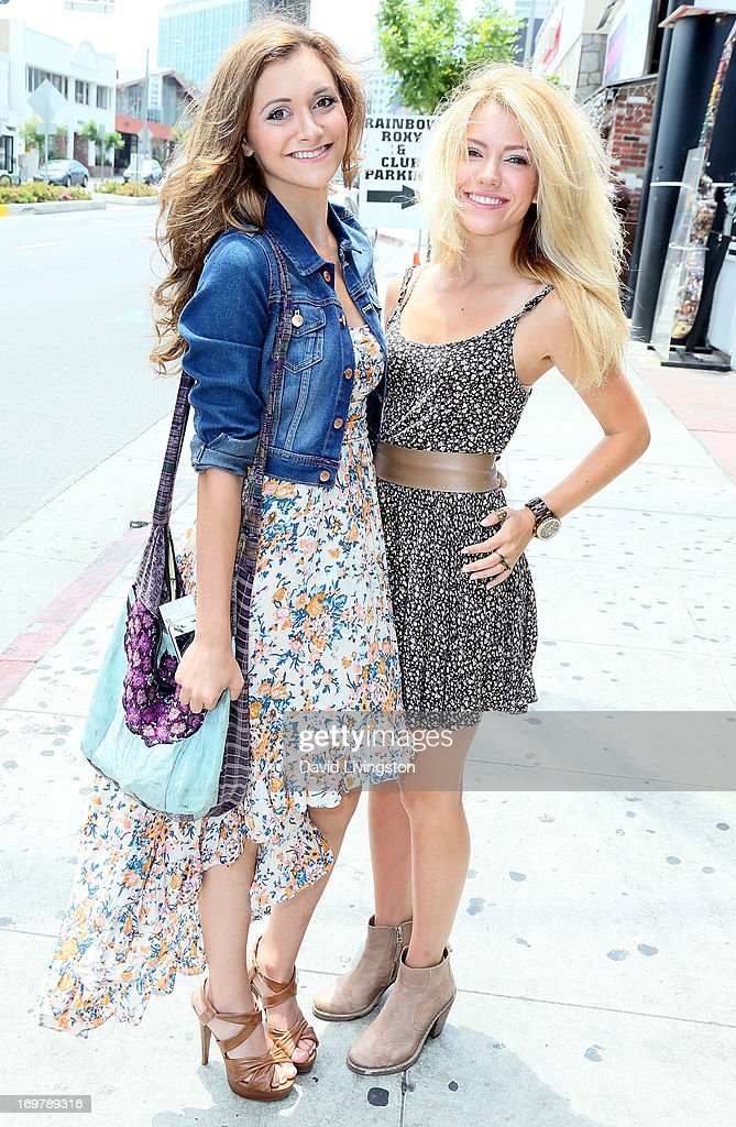 Actresses Alyson Stoner (L) and Lindsay Taylor attend the kickoff for Max Schneider's 'Nothing Without Love' summer tour at the Roxy Theatre on June 1, 2013 in West Hollywood, California.