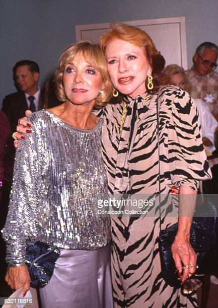 Actresses Amanda Blake and Beverly Garland attend the Golden Boot Awards in 1986 in Los Angeles California