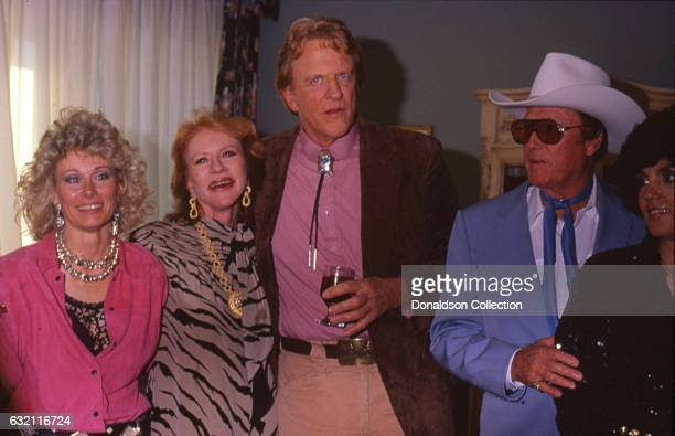 Actresses Amanda Blake and James Arness attend the Golden Boot Awards with other actors from 'Gunsmoke' in 1986 in Los Angeles California