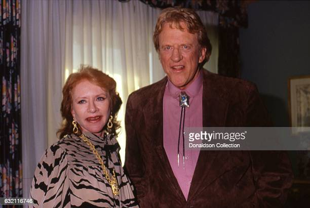 Actresses Amanda Blake and James Arness attend the Golden Boot Awards in 1986 in Los Angeles California