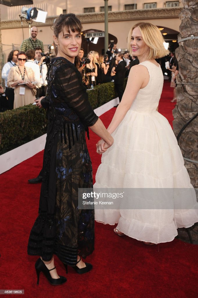 Actresses Amanda Peet and Sarah Paulson attend 20th Annual Screen Actors Guild Awards at The Shrine Auditorium on January 18 2014 in Los Angeles...