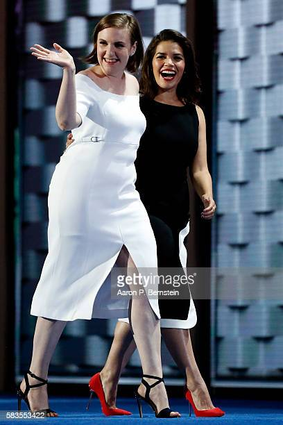 Actresses America Fererra and Lena Dunham arrive on stage to deliver remarks on the second day of the Democratic National Convention at the Wells...