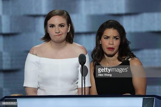 Actresses America Fererra and Lena Dunham deliver remarks on the second day of the Democratic National Convention at the Wells Fargo Center July 26...