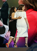 Actresses America Fererra and Lena Dunham exit the stage after delivering remarks on the second day of the 2016 Democratic National Convention at...