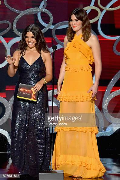 Actresses America Ferrera and Mandy Moore speak onstage during the 68th Annual Primetime Emmy Awards at Microsoft Theater on September 18 2016 in Los...