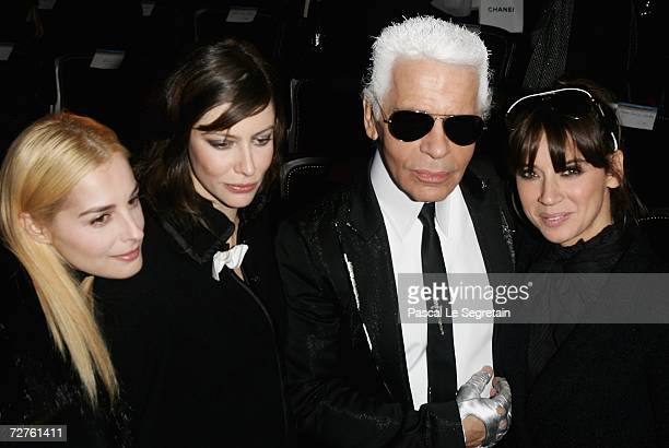 Actresses Amira Casar Anna Mouglalis designer Karl Lagerfeld and singer Cat Power pose after the Chanel Paris Monte Carlo Fashion Show on December 7...