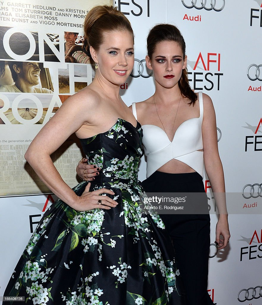 Actresses <a gi-track='captionPersonalityLinkClicked' href=/galleries/search?phrase=Amy+Adams&family=editorial&specificpeople=213938 ng-click='$event.stopPropagation()'>Amy Adams</a> (L) and <a gi-track='captionPersonalityLinkClicked' href=/galleries/search?phrase=Kristen+Stewart&family=editorial&specificpeople=2166264 ng-click='$event.stopPropagation()'>Kristen Stewart</a> arrive at the 'On The Road' premiere during the 2012 AFI Fest presented by Audi at Grauman's Chinese Theatre on November 3, 2012 in Hollywood, California.