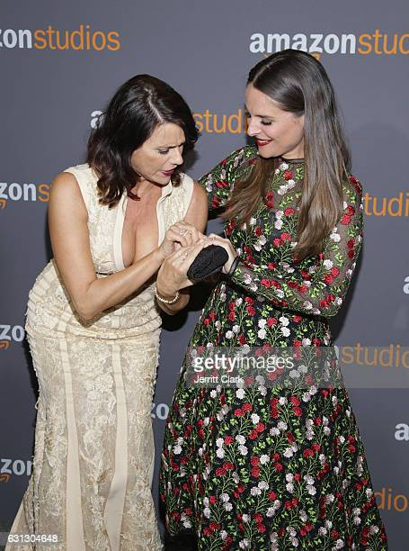 Actresses Amy Landecker and Yara Martinez attend the Amazon Studios Golden Globes Party at The Beverly Hilton Hotel on January 8 2017 in Beverly...