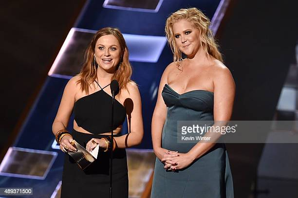 Actresses Amy Poehler and Amy Schumer speak onstage during the 67th Annual Primetime Emmy Awards at Microsoft Theater on September 20 2015 in Los...