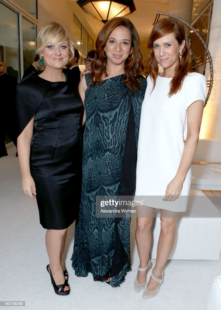 Actresses Amy Poehler, Maya Rudolph and Kristen Wiig attend the 15th Annual Costume Designers Guild Awards with presenting sponsor Lacoste at The Beverly Hilton Hotel on February 19, 2013 in Beverly Hills, California.