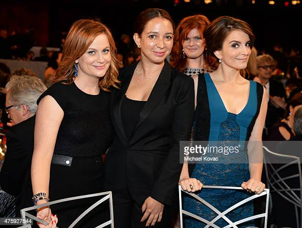 Actresses Amy Poehler Maya Rudolph and Tina Fey with identified photobomb attend the 43rd AFI Life Achievement Award Gala honoring Steve Martin at...
