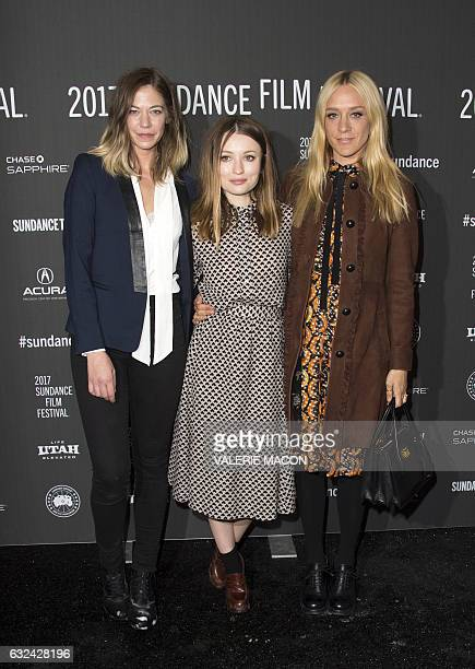 Actresses Analeigh Tipton Emily Browning and Chloe Sevigny attend 'Golden Exits' Premiere at Library Center Theatre during the 2017 Sundance Film...