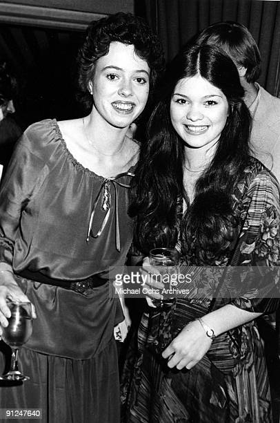 Actresses and costars of the TV show 'One Day At A Time' Mackenzie Phillips and Valerie Bertinelli attend an event in circa 1978