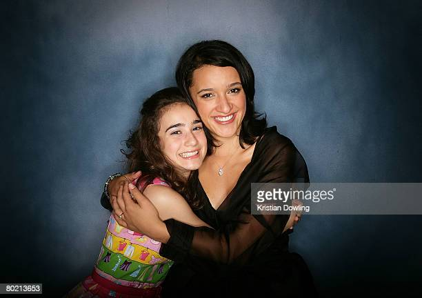 Actresses and joint presenters of the 'Best Australian Newcomer Awards' Danielle Catanzariti and Keisha CastleHughes pose backstage at the 2008 Movie...