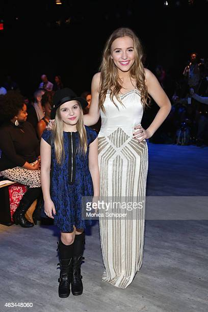 Actresses and singers Maisy Stella and Lennon Stella attend the Idan Cohen fashion show during MercedesBenz Fashion Week Fall 2015 at The Pavilion at...