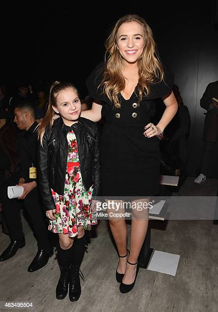 Actresses and singers Maisy Stella and Lennon Stella attend the Venexiana fashion show during MercedesBenz Fashion Week Fall 2015 at The Pavilion at...
