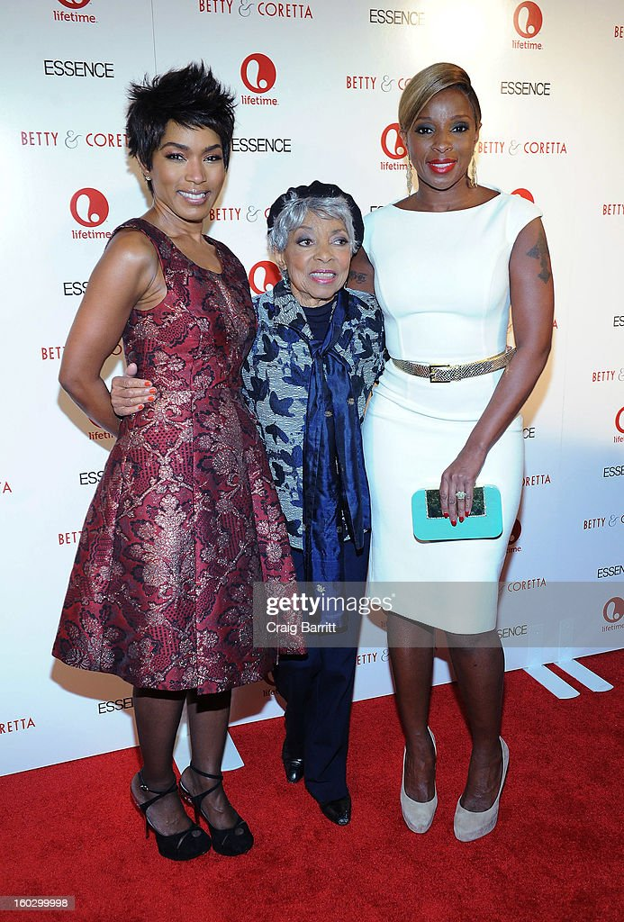 Actresses (L-R) <a gi-track='captionPersonalityLinkClicked' href=/galleries/search?phrase=Angela+Bassett&family=editorial&specificpeople=171174 ng-click='$event.stopPropagation()'>Angela Bassett</a>, <a gi-track='captionPersonalityLinkClicked' href=/galleries/search?phrase=Ruby+Dee&family=editorial&specificpeople=217744 ng-click='$event.stopPropagation()'>Ruby Dee</a> and <a gi-track='captionPersonalityLinkClicked' href=/galleries/search?phrase=Mary+J.+Blige&family=editorial&specificpeople=171124 ng-click='$event.stopPropagation()'>Mary J. Blige</a> attend the premiere of 'Betty & Coretta' to celebrate with Lifetime and cast at Tribeca Cinemas on January 28, 2013 in New York City.
