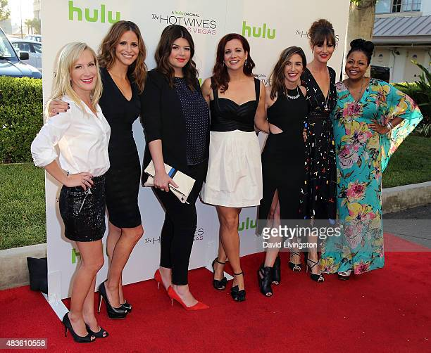 Actresses Angela Kinsey Andrea Savage Casey Wilson Dannah Phirman Danielle Schneider Erinn Hayes and Tymberlee Hill attend a screening of Hulu and...