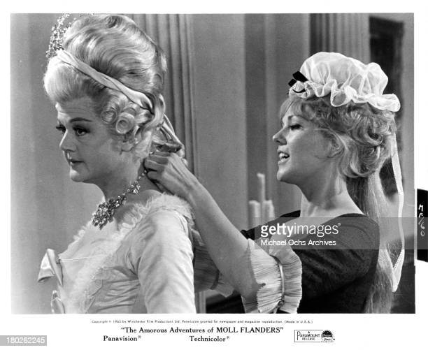 Actresses Angela Lansbury and Kim Novak on set of the Paramount Pictures movie 'The Amorous Adventures of Moll Flanders' in 1965