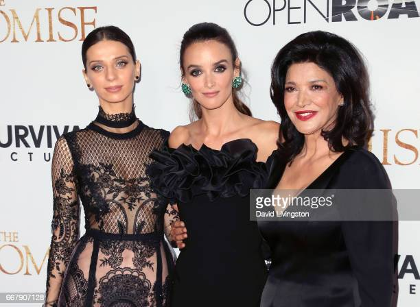 Actresses Angela Sarafyan Charlotte Le Bon and Shohreh Aghdashloo attend the premiere of Open Road Films' 'The Promise' at TCL Chinese Theatre on...