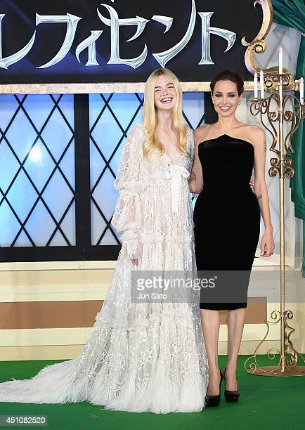 Actresses Angelina Jolie and Elle Fanning attend 'Maleficent' Japan premiere at Ebisu Garden Place on June 23 2014 in Tokyo Japan