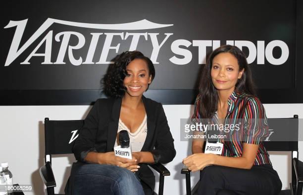 Actresses Anika Noni Rose and Thandie Newton speak at the Variety Studio presented by Moroccanoil at Holt Renfrew during the 2013 Toronto...