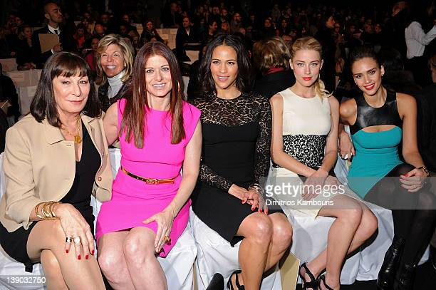 Actresses Anjelica Houston Debra Messing Paula Patton Amber Heard and Jessica Alba attend the Michael Kors Fall 2012 fashion show during MercedesBenz...