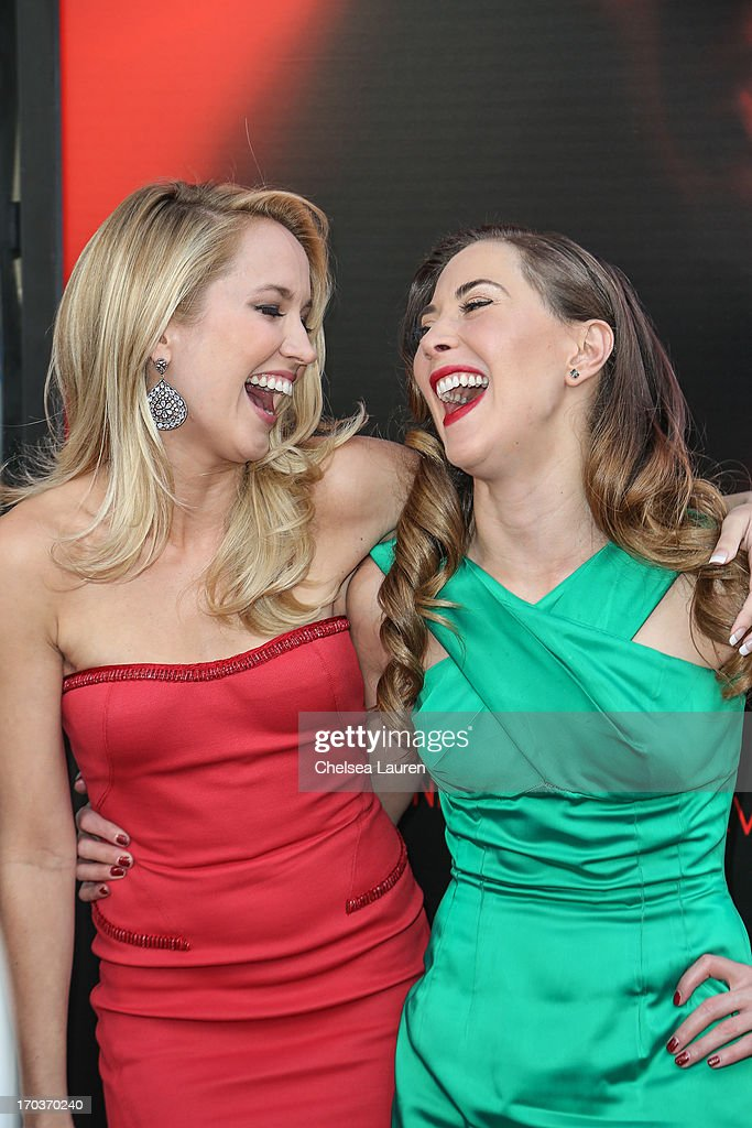 Actresses Anna Camp (L) and Bonnie Kathleen Ryan arrive at HBO's 'True Blood' season 6 premiere at ArcLight Cinemas Cinerama Dome on June 11, 2013 in Hollywood, California.