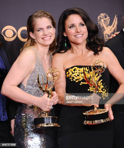Actresses Anna Chlumsky and Julia LouisDreyfus pose in the press room at the 69th annual Primetime Emmy Awards at Microsoft Theater on September 17...