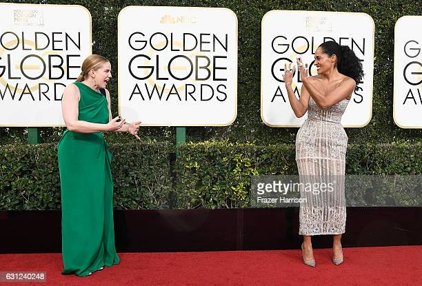 Actresses Anna Chlumsky and Tracee Ellis Ross attend the 74th Annual Golden Globe Awards at The Beverly Hilton Hotel on January 8 2017 in Beverly...